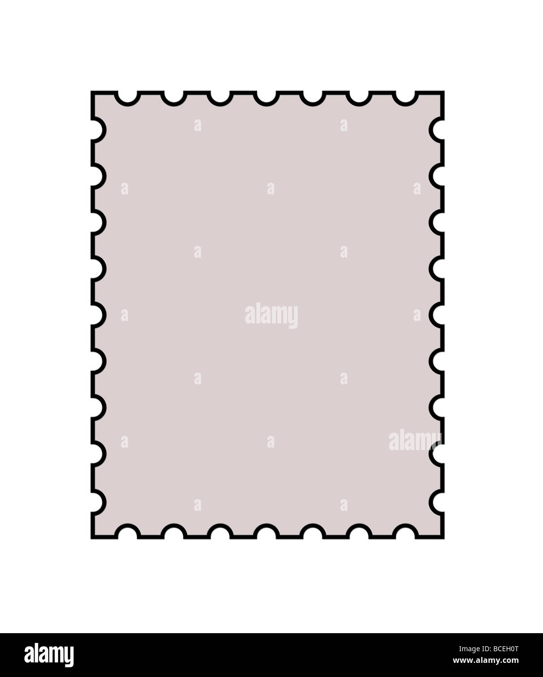 Blank postage stamp with copy space in center isolated on white background - Stock Image