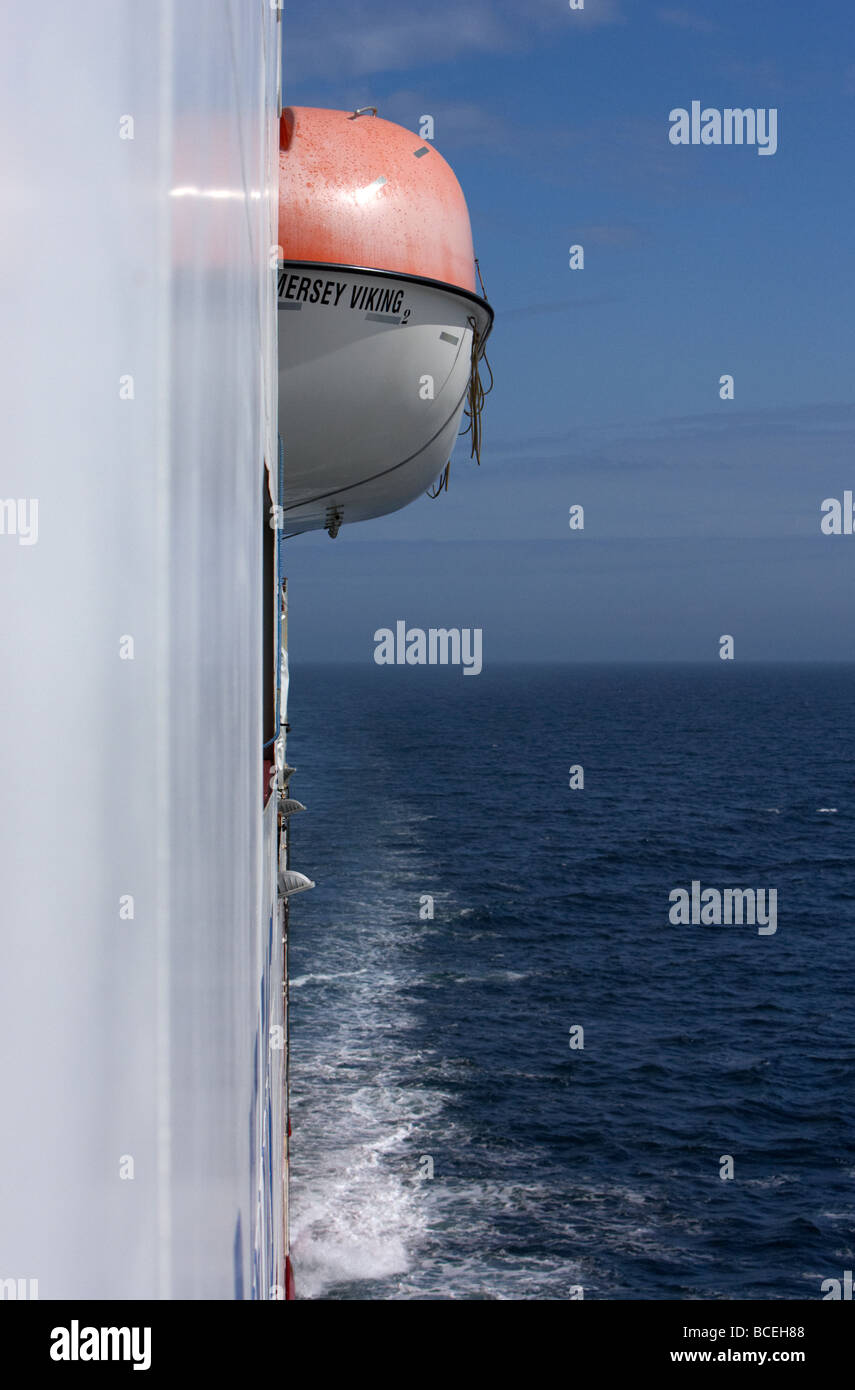 lifeboat on the side of the mersey viking norfolkline passenger ferry at sea in the uk - Stock Image