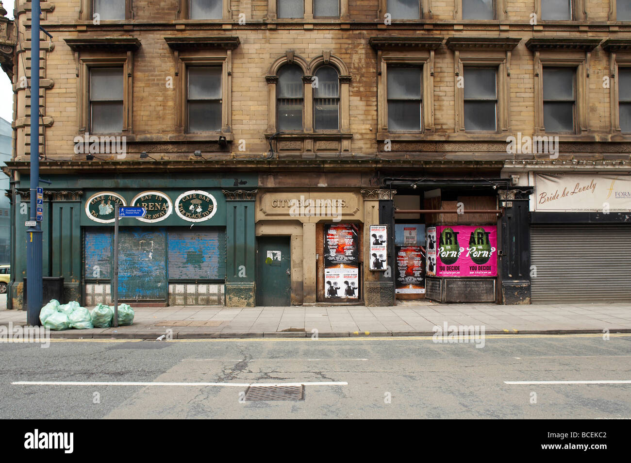 Closed down shops in City Buildings Manchester UK - Stock Image