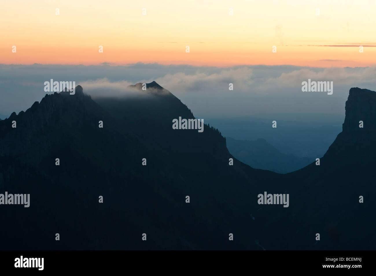 Niederhorn Beatenberg Berner Oberland Schweiz sunset - Stock Image