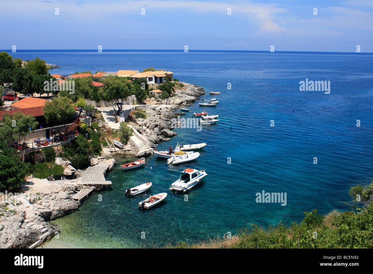 Makris Gialos Harbour Ionian Sea Zante Zakynthos Greece EU European Union Europe - Stock Image