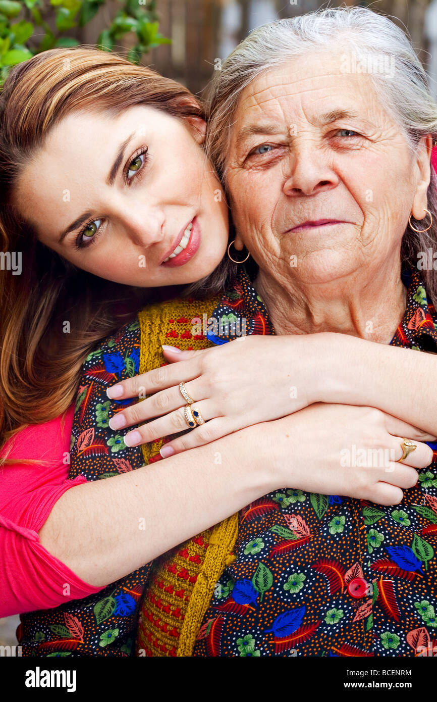 Family happy young woman with her grandmother - Stock Image