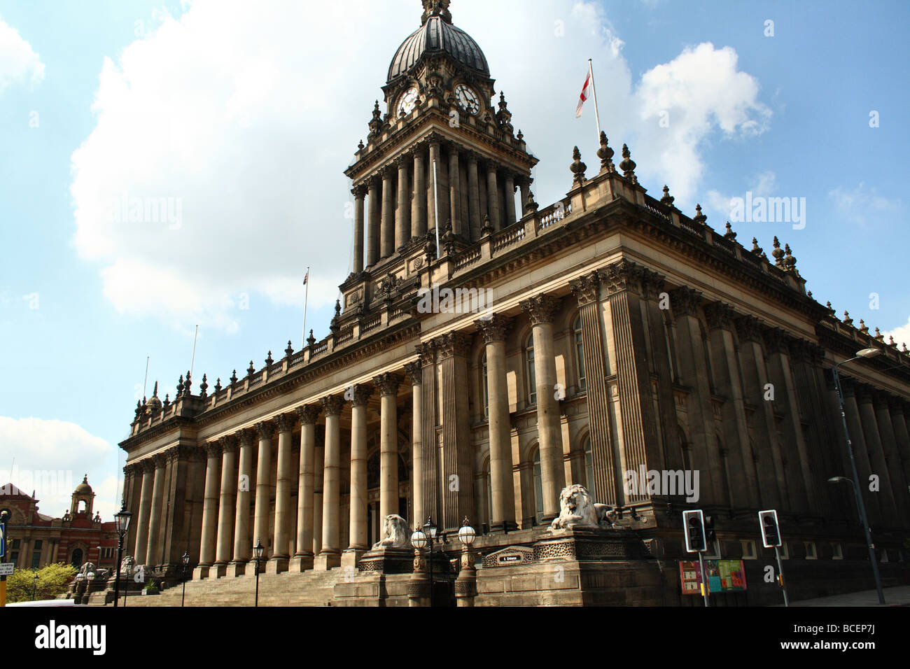 Leeds City Hall designed by Cuthbert Brodick. Leeds Town Hall was built between 1853 and 1858 in Park Lane (now - Stock Image