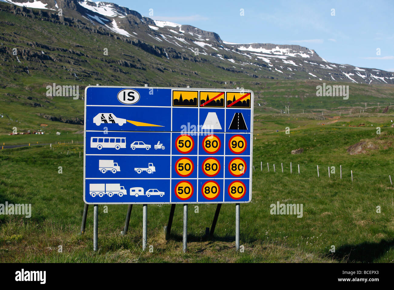 Speed limitations sign, Iceland - Stock Image