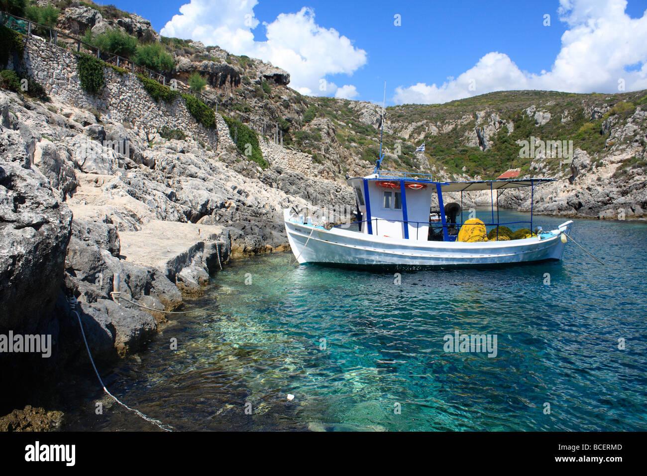 Fishing Boat Porto Roxi Zante Zakynthos Greece EU European Union Europe - Stock Image