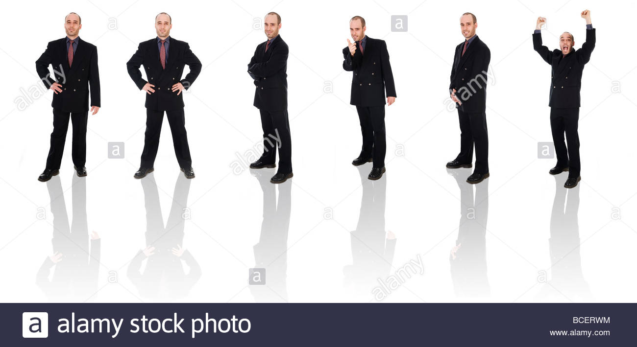 business man on a white background isolated poses - Stock Image