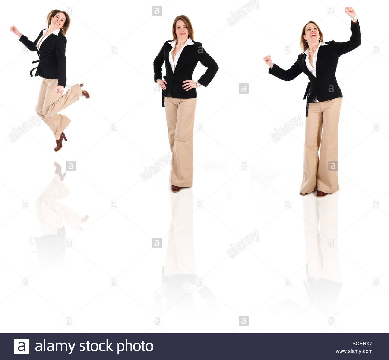 happy business woman on an isolated white background poses - Stock Image