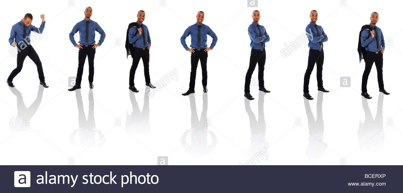 African Business man on a white background poses - Stock Image