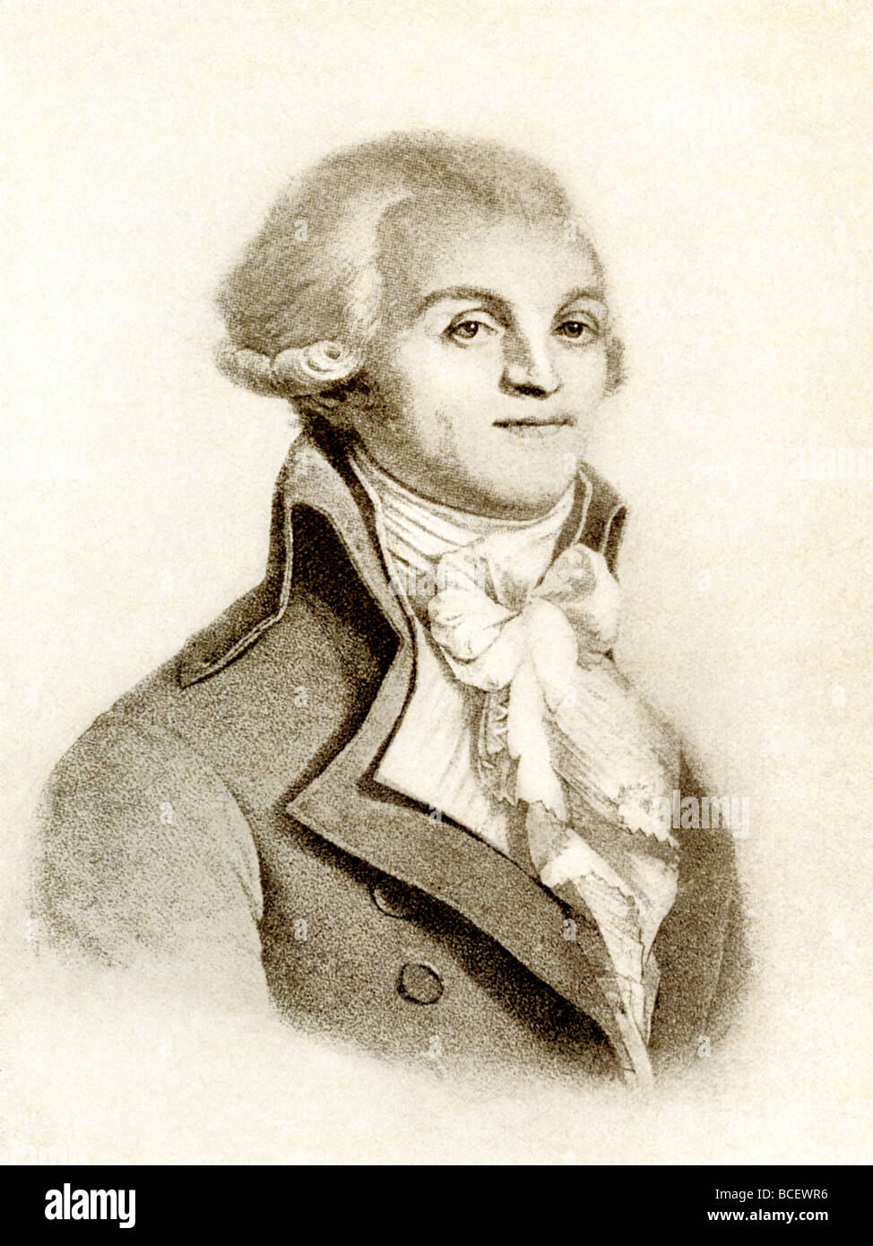 French revolutionary Maximilien Robespierre (1758-1794) was the leader of the Jacobins and key in the Reign of Terror. - Stock Image