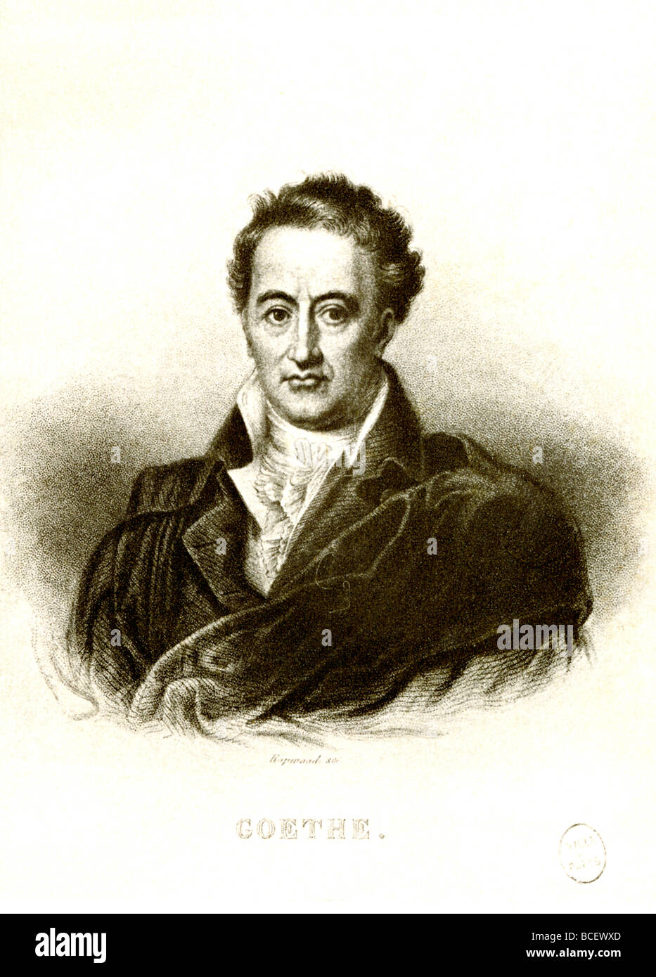 Johann Wolfgang von Goethe (1749-1832) was a German poet, dramatist, and novelist. #8;He is best known for his work - Stock Image