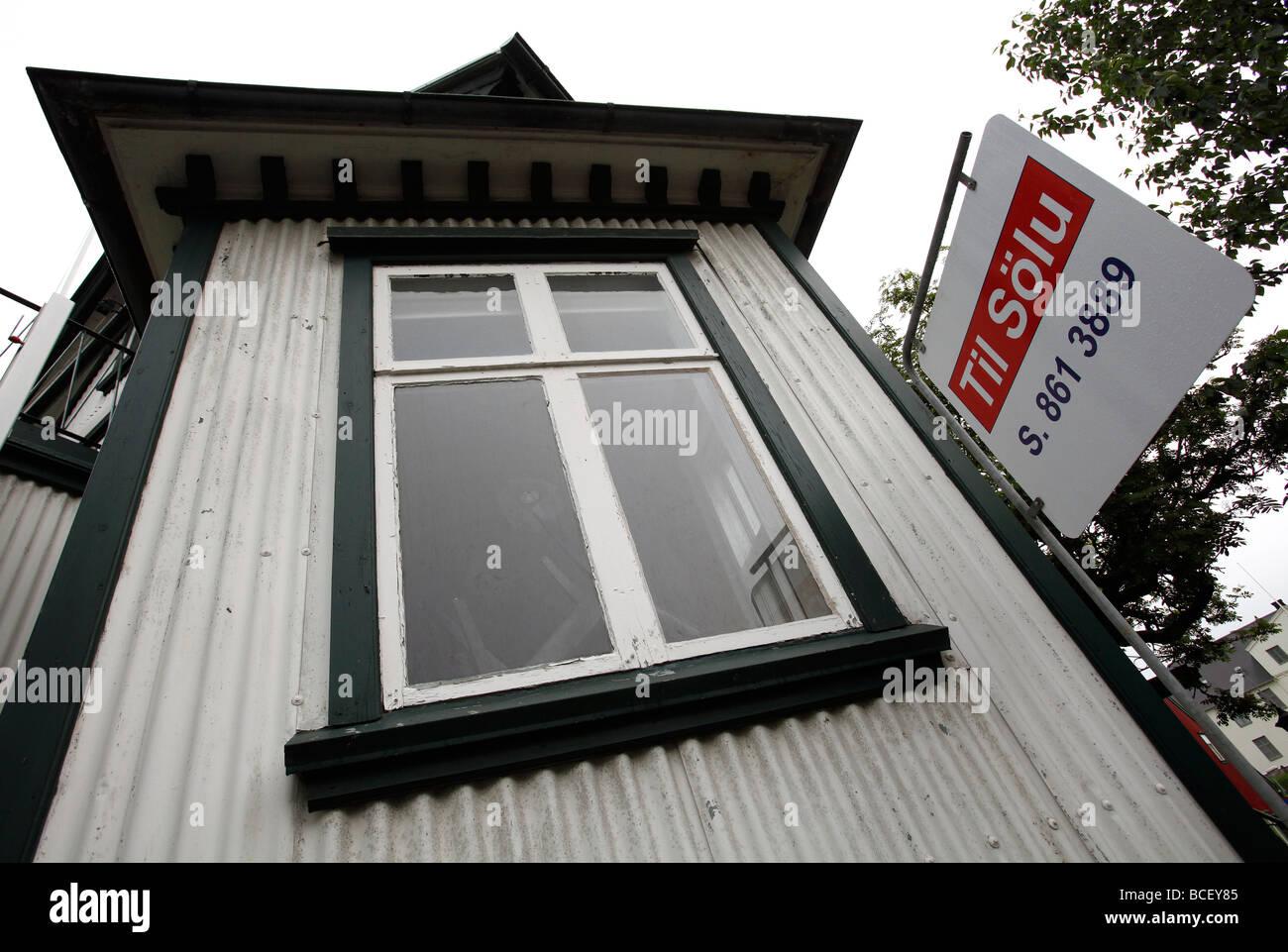 Real estate, for sale sign, Reykjavik, Iceland - Stock Image