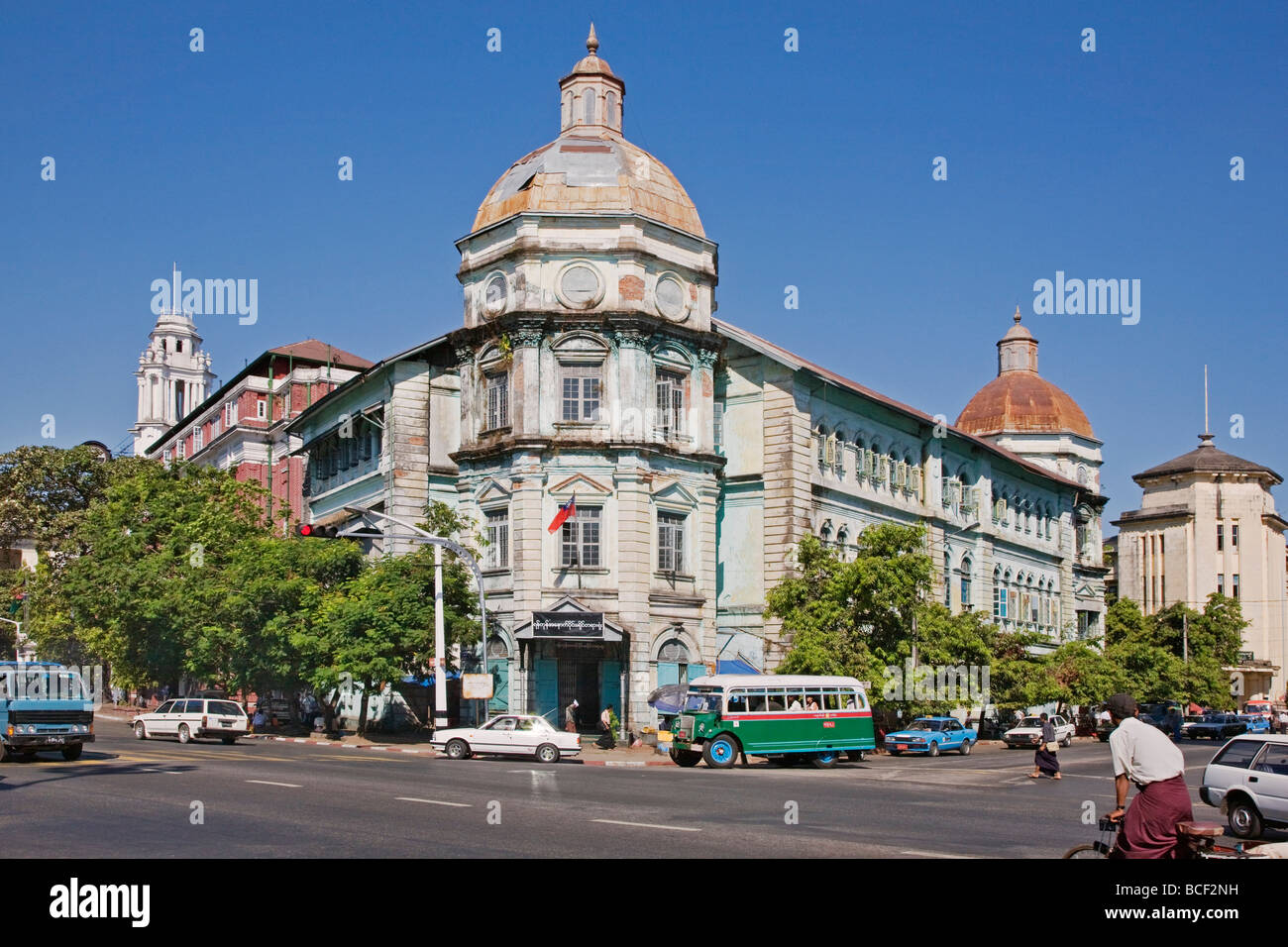 Myanmar, Burma, Yangon. The faded splendour of buildings in Yangon denotes the countrys colonial past under British - Stock Image