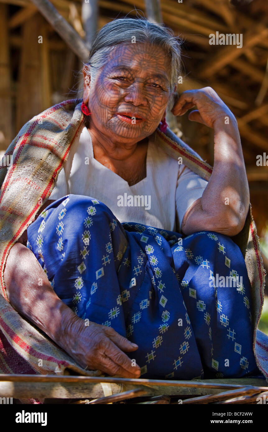 Myanmar, Chin State, Kyi Chaung Village. A Chin woman with tattooed face. It was customary for girls to be tattooed - Stock Image