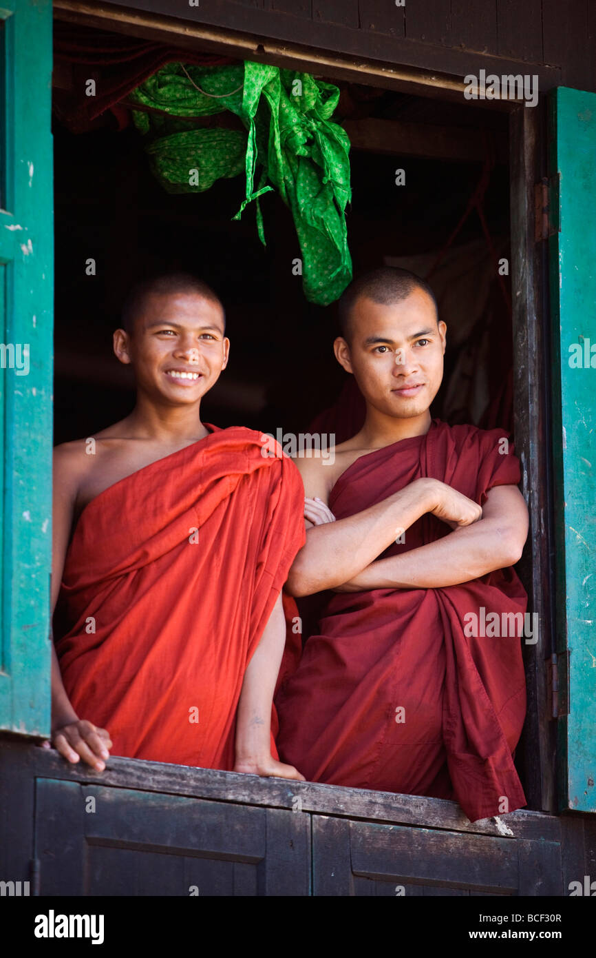 Myanmar, Burma, Rakhine State, Sittwe  Two novice monks look
