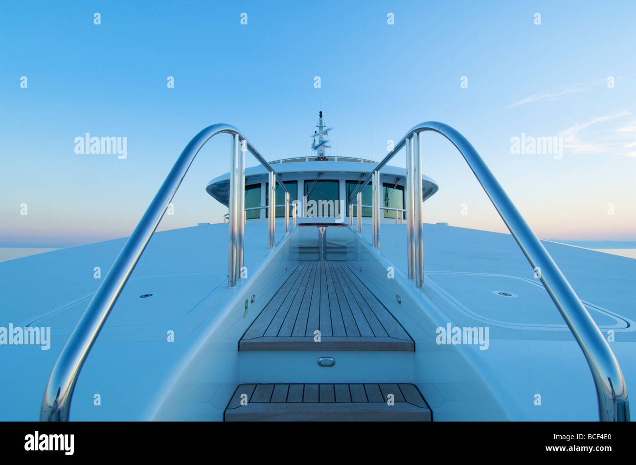 Luxury yacht foredeck details  - Stock Image