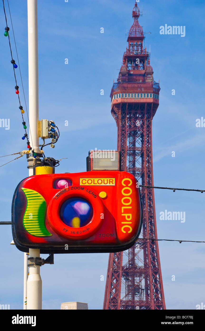 Street illuminations and Blackpool tower along the golden mile Lancashire England UK United Kingdom GB Great Britain - Stock Image