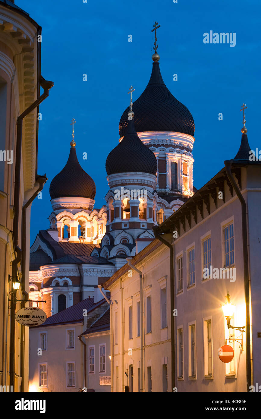 Alexander Nevsky Church at Dusk, Tallinn, Estonia - Stock Image