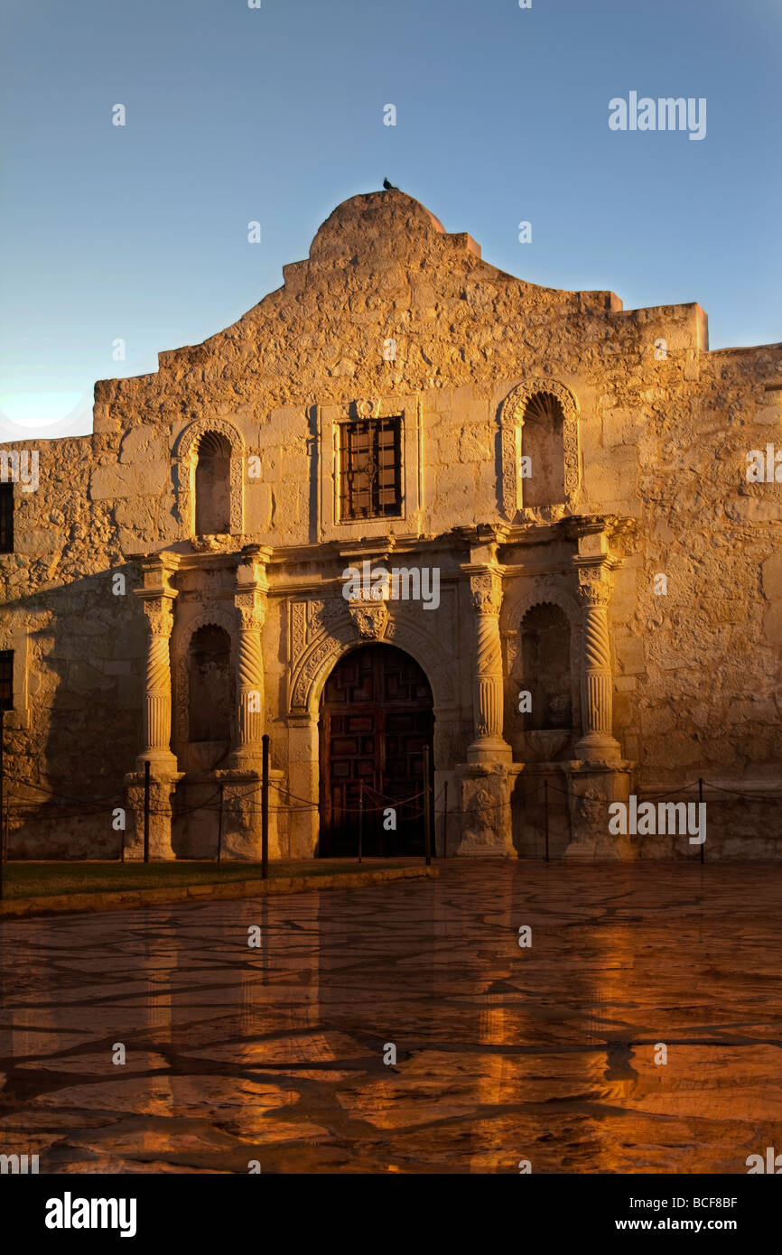 The Alamo in San Antonio, Texas reflected on the wet ground after the rain had passed. Stock Photo
