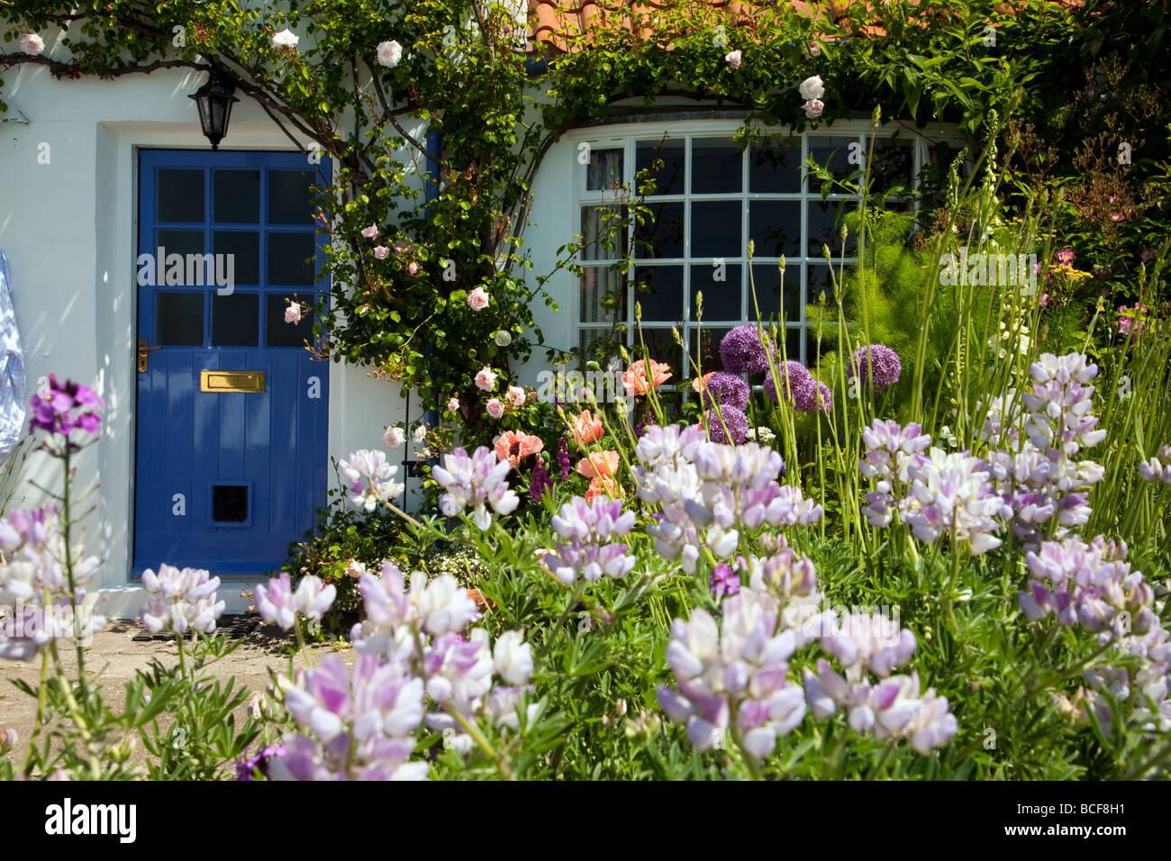 Seaside Cottage Garden North Yorkshire Coast - Stock Image