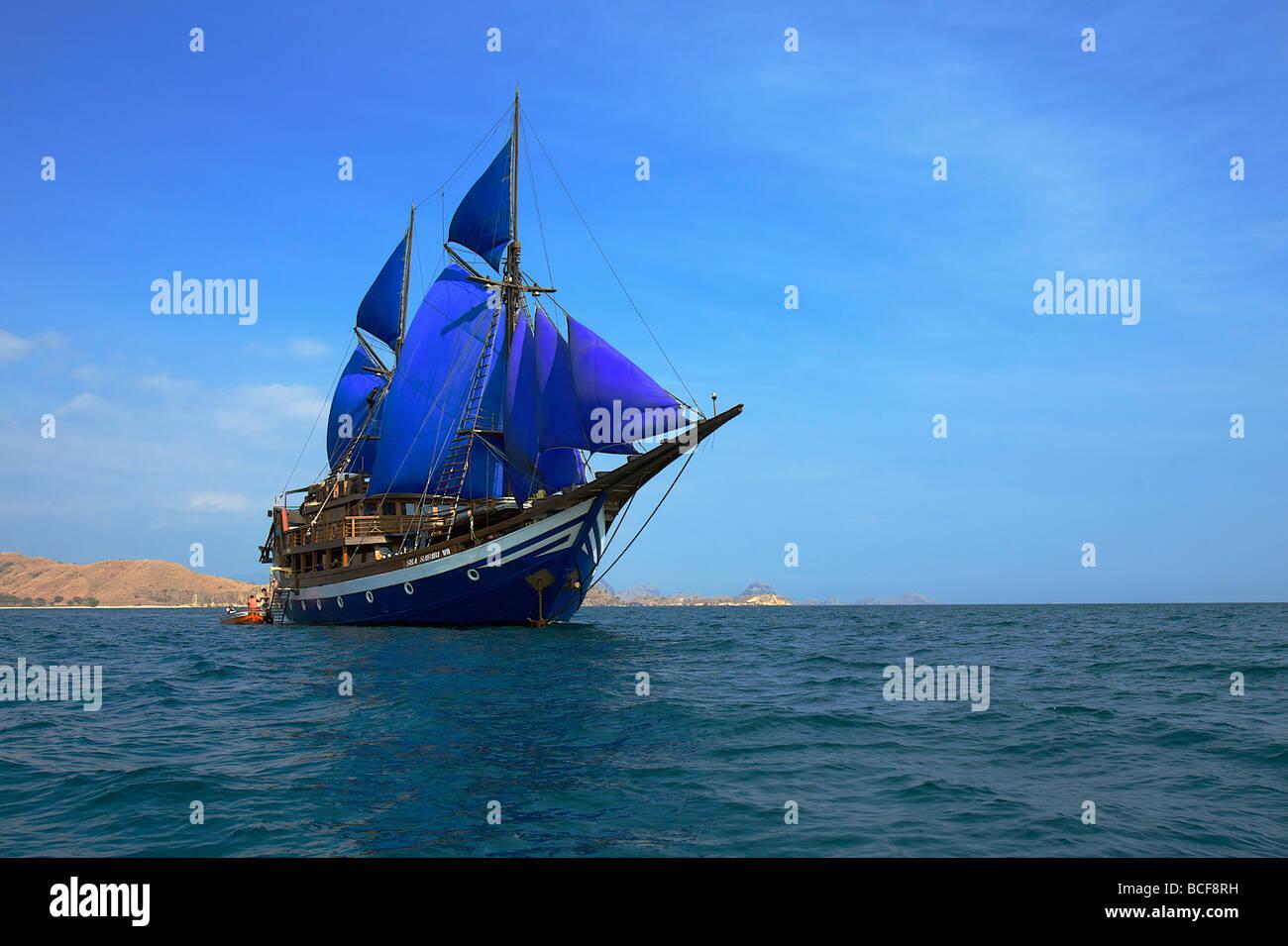 Safari ship, East part of Komodo, Lesser Sunda Islands, Indonesia - Stock Image