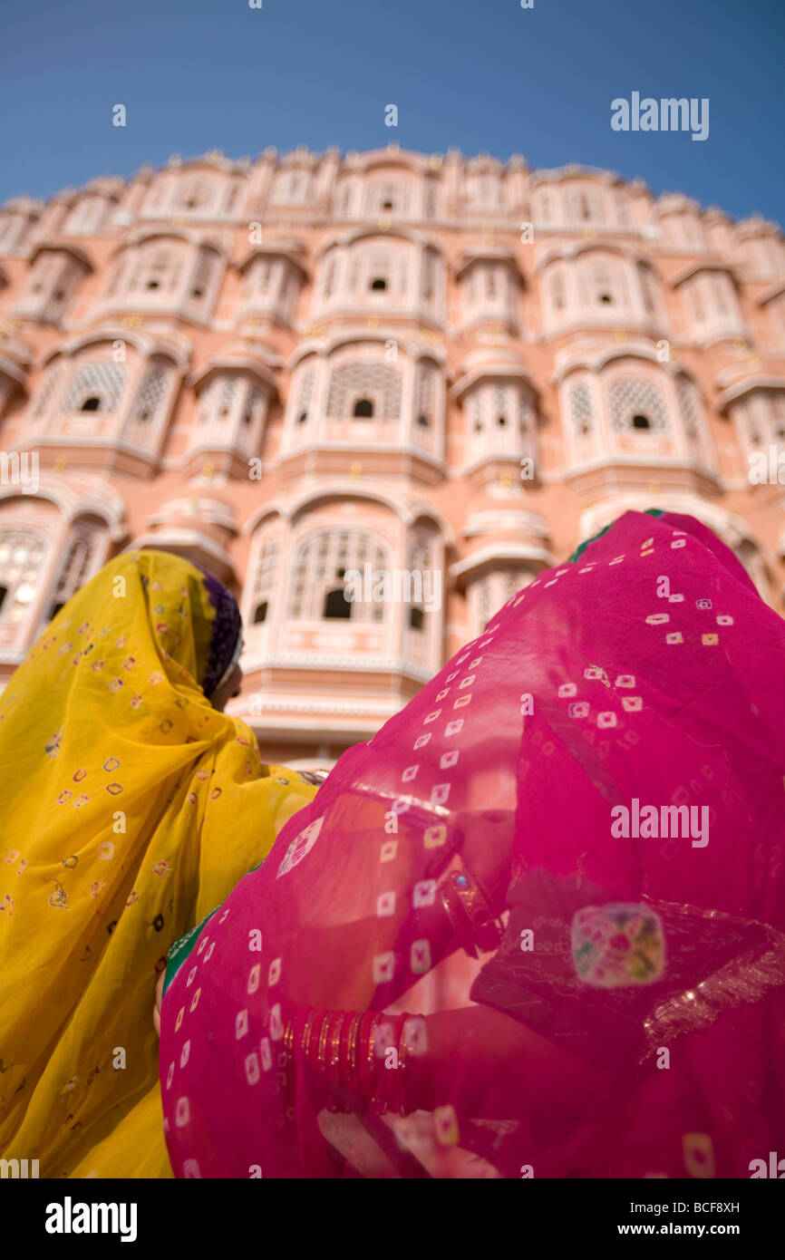 Young Women in Traditional Dress, Palace of the Winds (Hawa Mahal), Jaipur, Rajasthan, India, MR - Stock Image