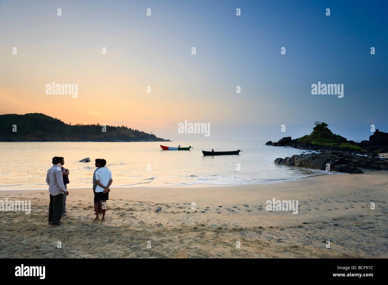 Fishermen, Om Beach, Gokarna, Kerala, India - Stock Image