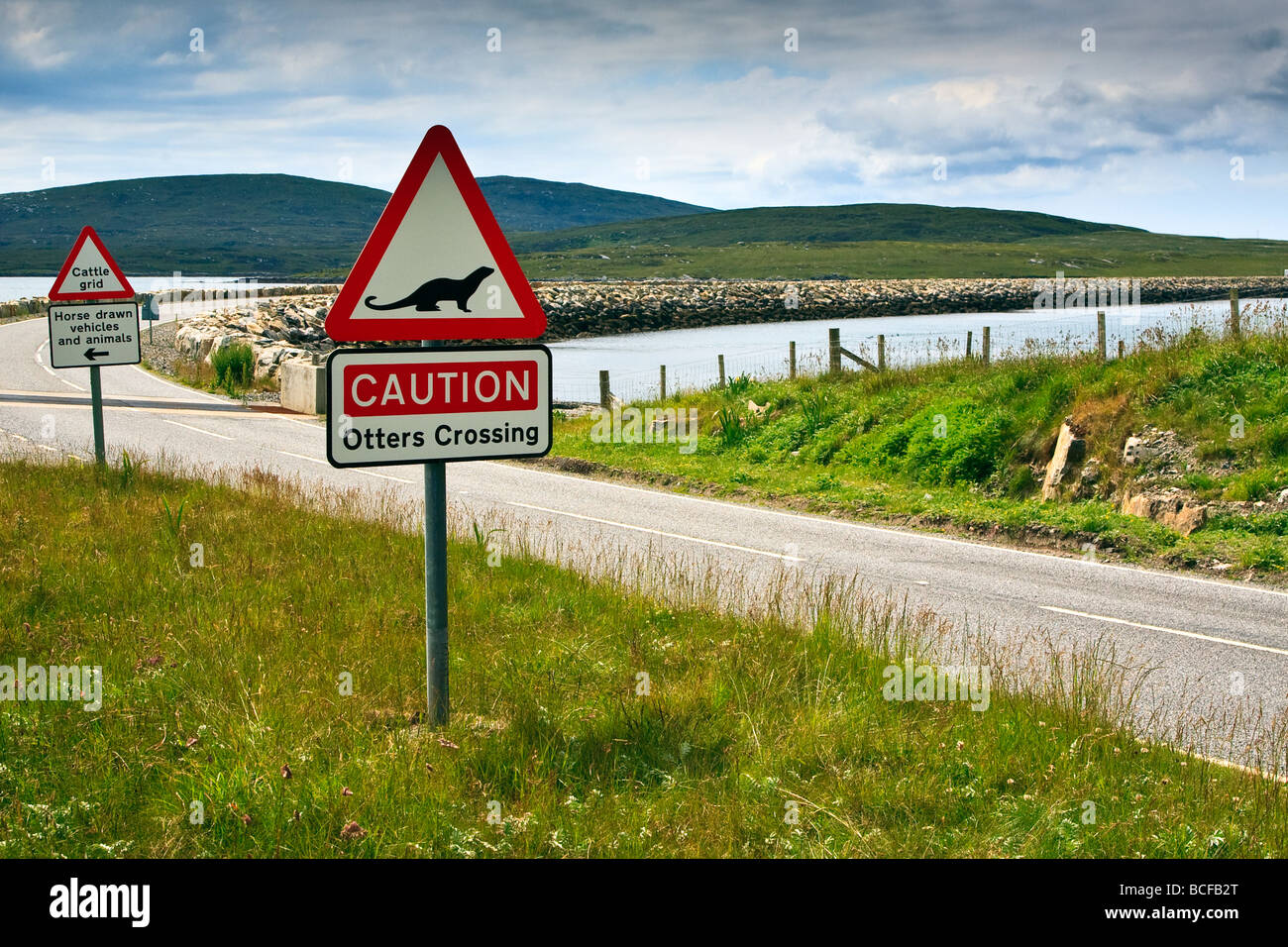 Otter caution road sign at Berneray Isle of Uist, Outer Hebrides, Scotland 2009 - Stock Image