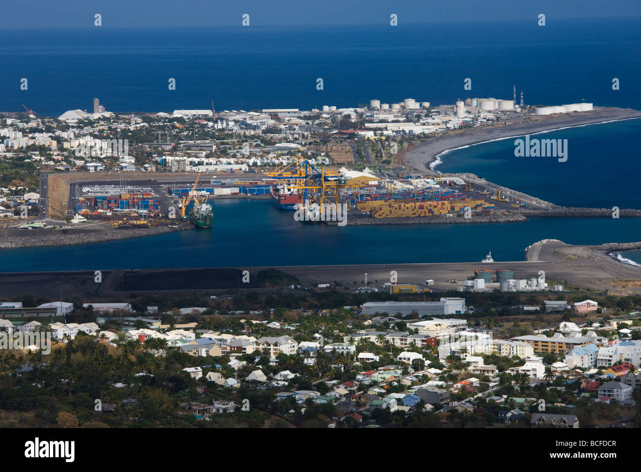 Reunion Island, Le Port, Harbor View from Le Possession - Stock Image
