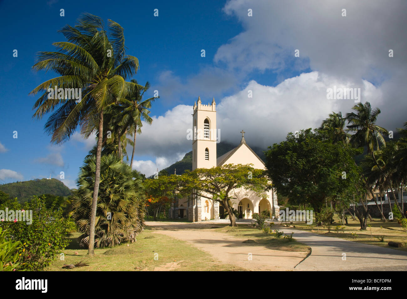 Seychelles, Mahe Island, Bel Ombre, town church - Stock Image
