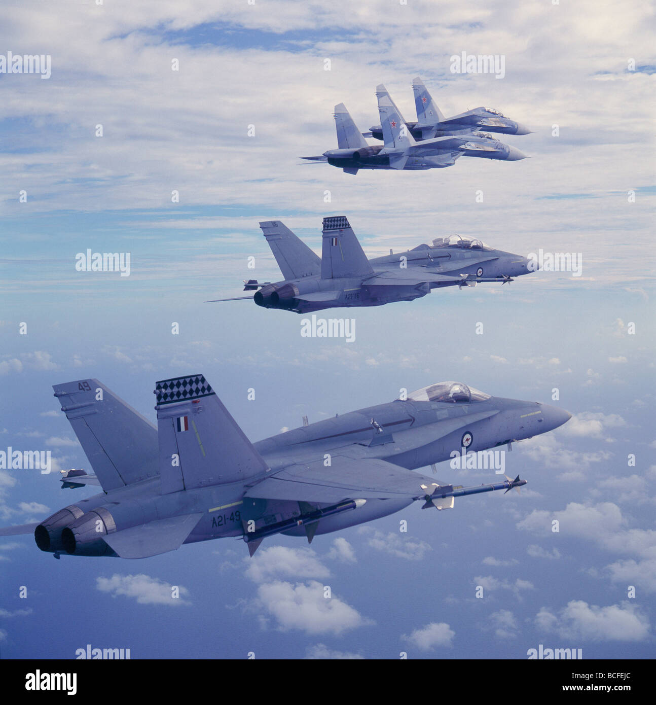 McDonnell Douglas FA 18 Hornet and Sukhoi Su 27 Flanker in flight - Stock Image