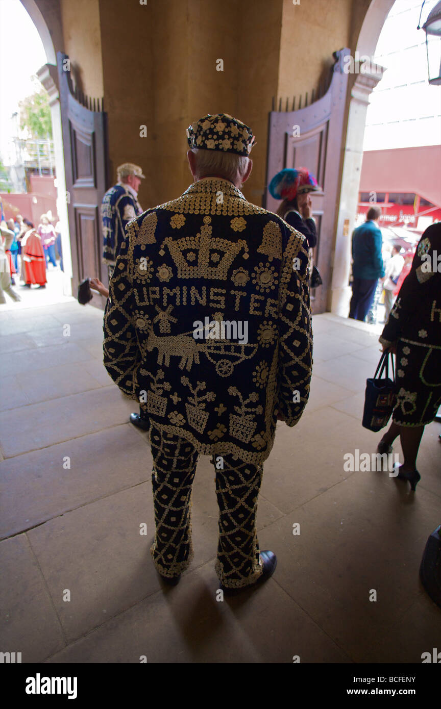 Pearly King and Queens Harvest Festival, London, England, UK - Stock Image