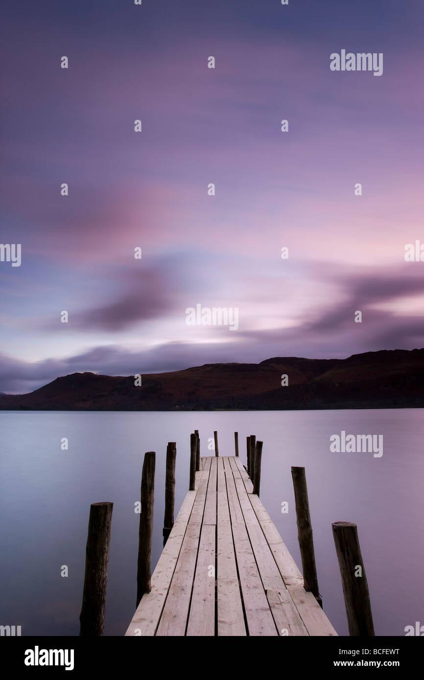 Brandelhow Bay jetty, Derwentwater, Keswick, Lake District, Cumbria, England - Stock Image