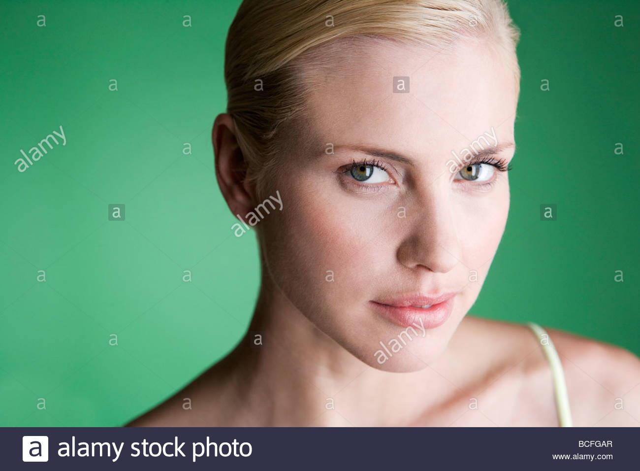 A portrait of a young blonde woman - Stock Image