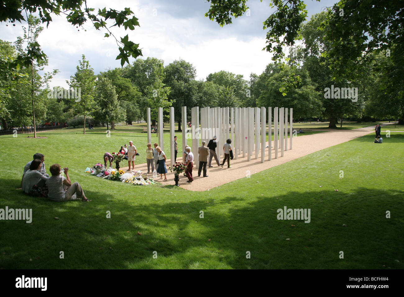 Memorial to the victims of the London terrorist attack on 7th July 2005, Hyde Park, London, UK - Stock Image