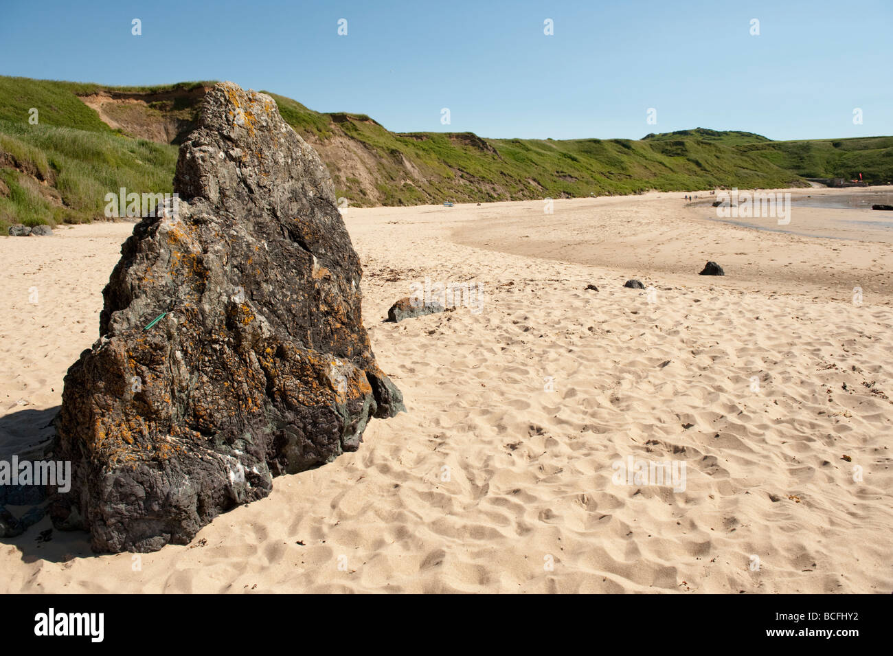 summer afternoon Porth Oer Whistling Sands Lleyn Peninsula Gwynedd North Wales UK - Stock Image