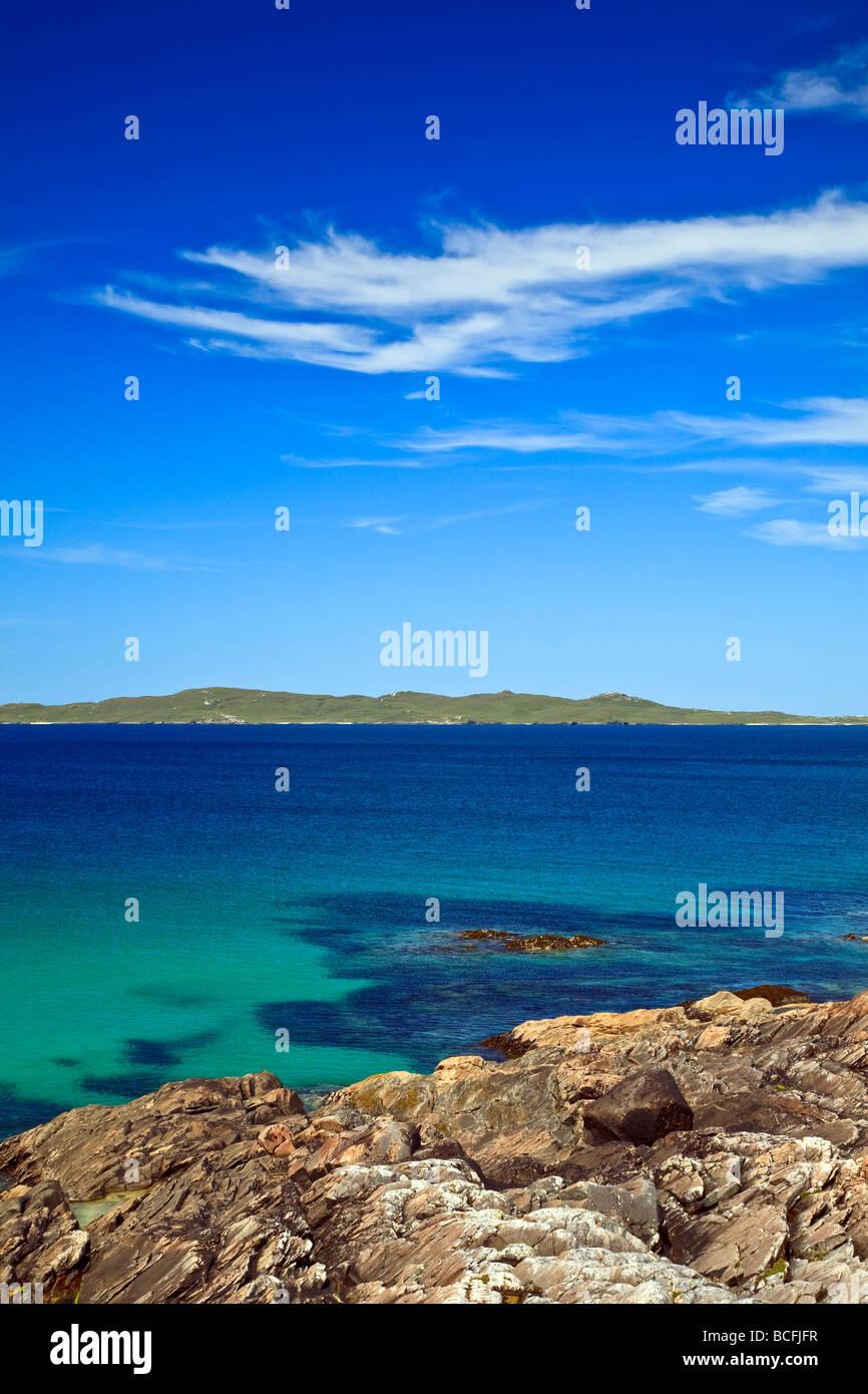 Coastal view towards Taransay from Horgabost Isle of Harris, Outer Hebrides, western isles, Scotland, UK 2009 - Stock Image