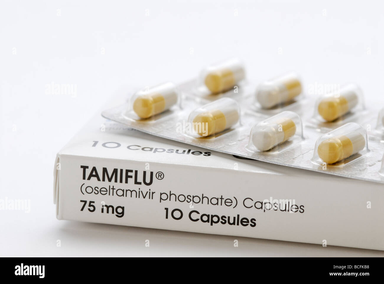 Tamiflu, oseltamivir, an antiviral medication used to treat influenza A and influenza B including swine flu and - Stock Image