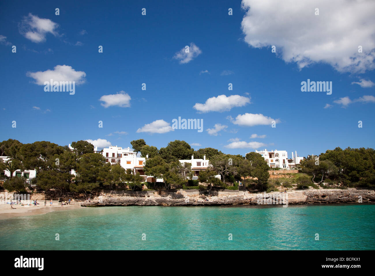 Expensive houses on coast Cala d'Or Mallorca Spain - Stock Image