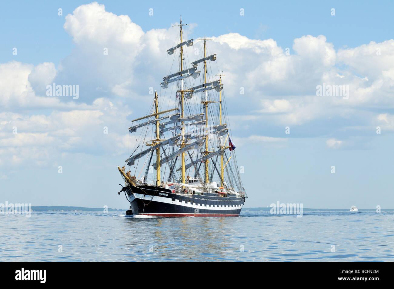 Russian Tall Ship Kruzenshtern a four masted barque in Buzzards Bay Cape Cod - Stock Image