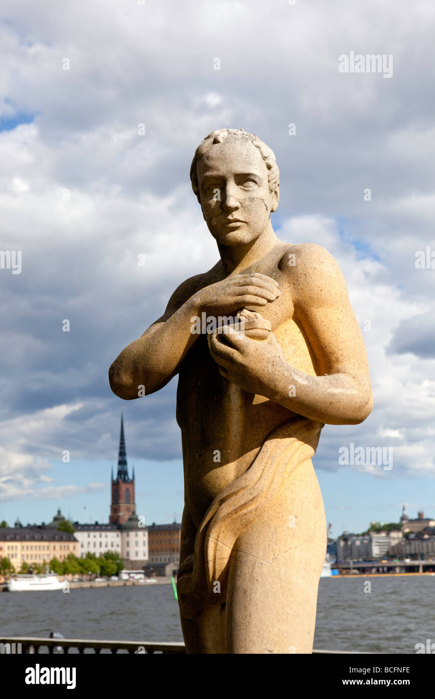 Statue of the Poet, Stadhuset, City hall, Stockholm (Sweden) - Stock Image