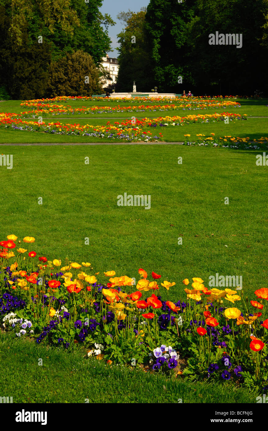 Flower bed in the parc Mon Repos Geneva Switzerland - Stock Image