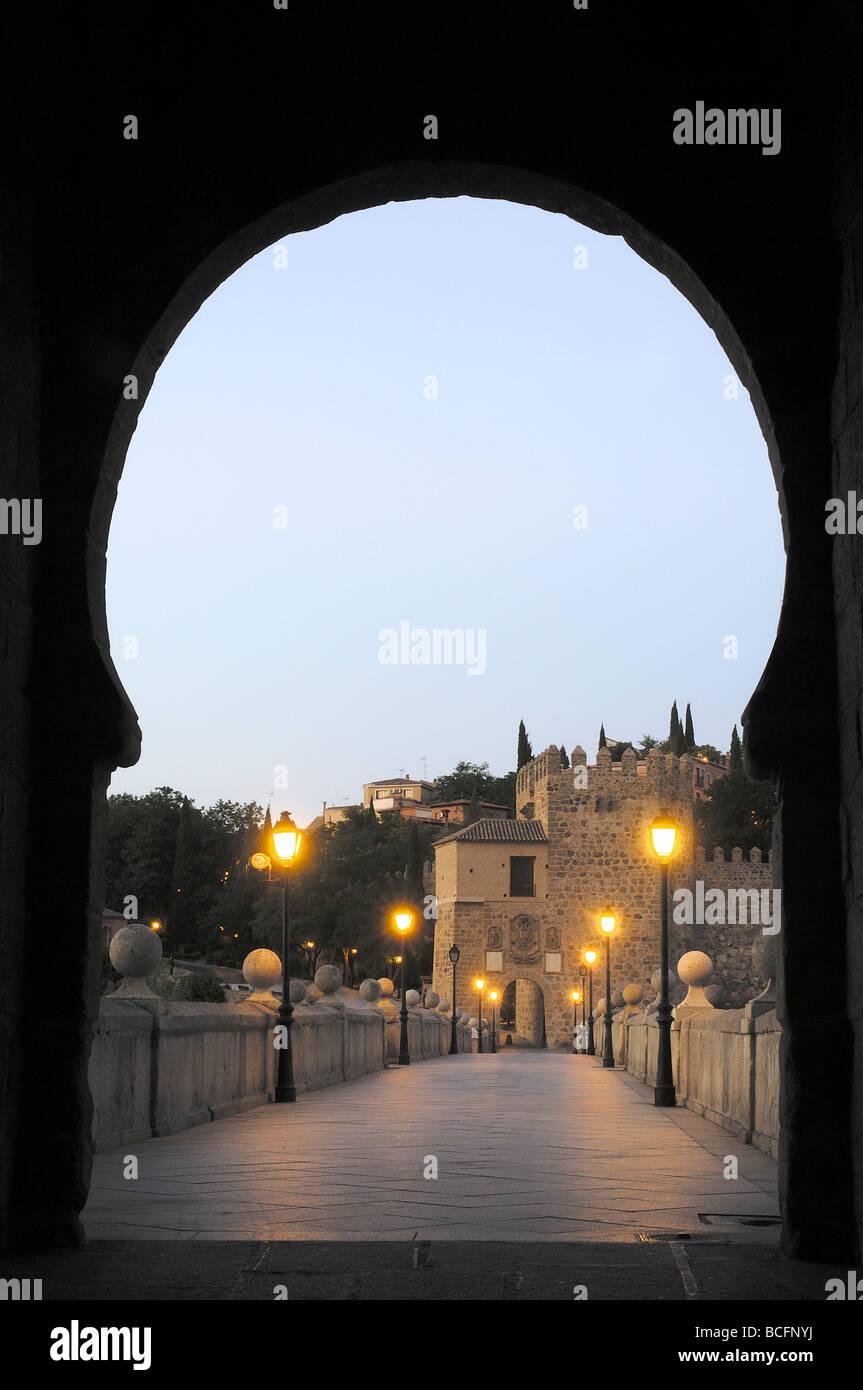 San Martin bridge at nith Toledo Castilla La Mancha Spain - Stock Image