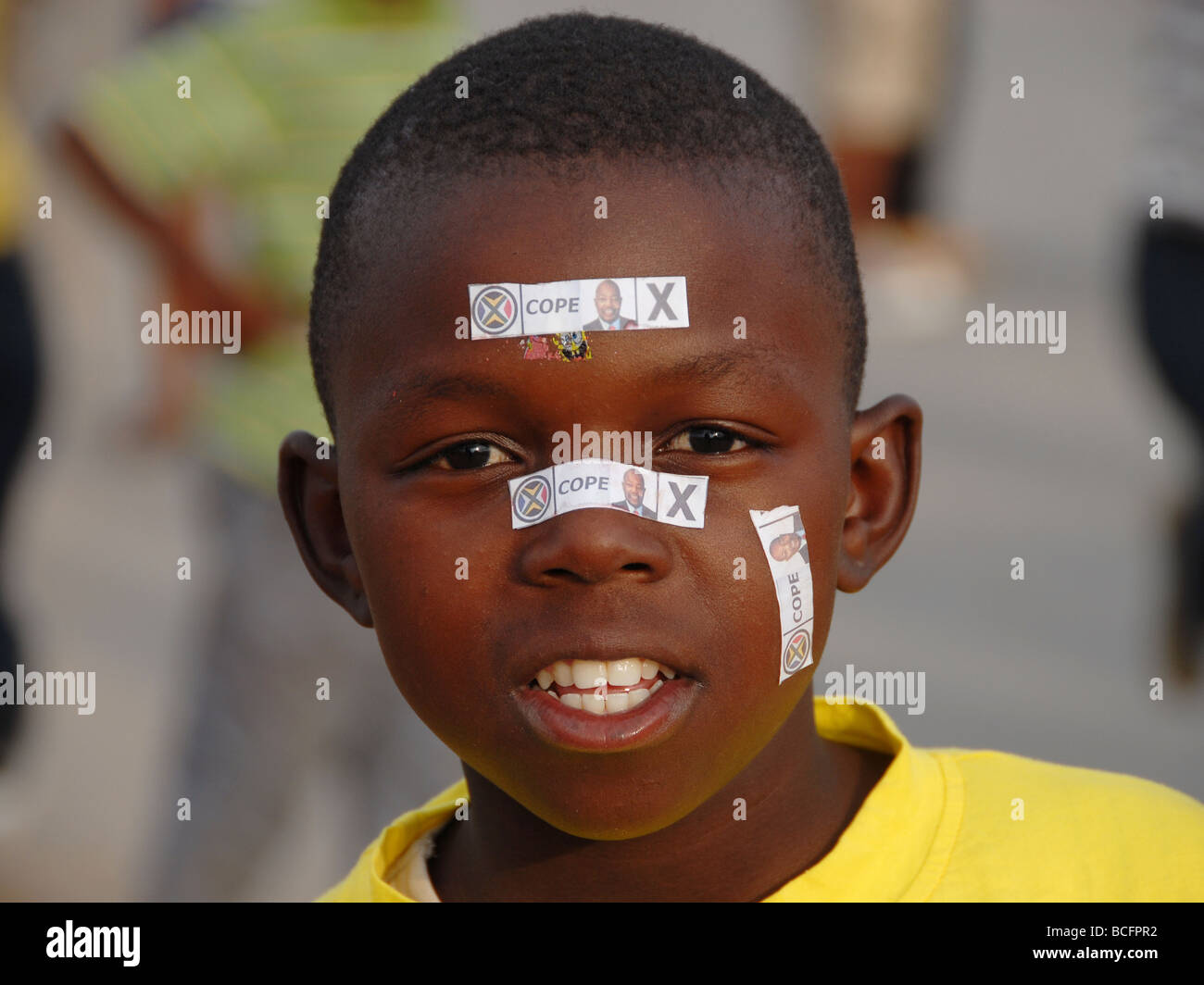 Young boy, campaining for COPE, for the 2009 elections - Stock Image