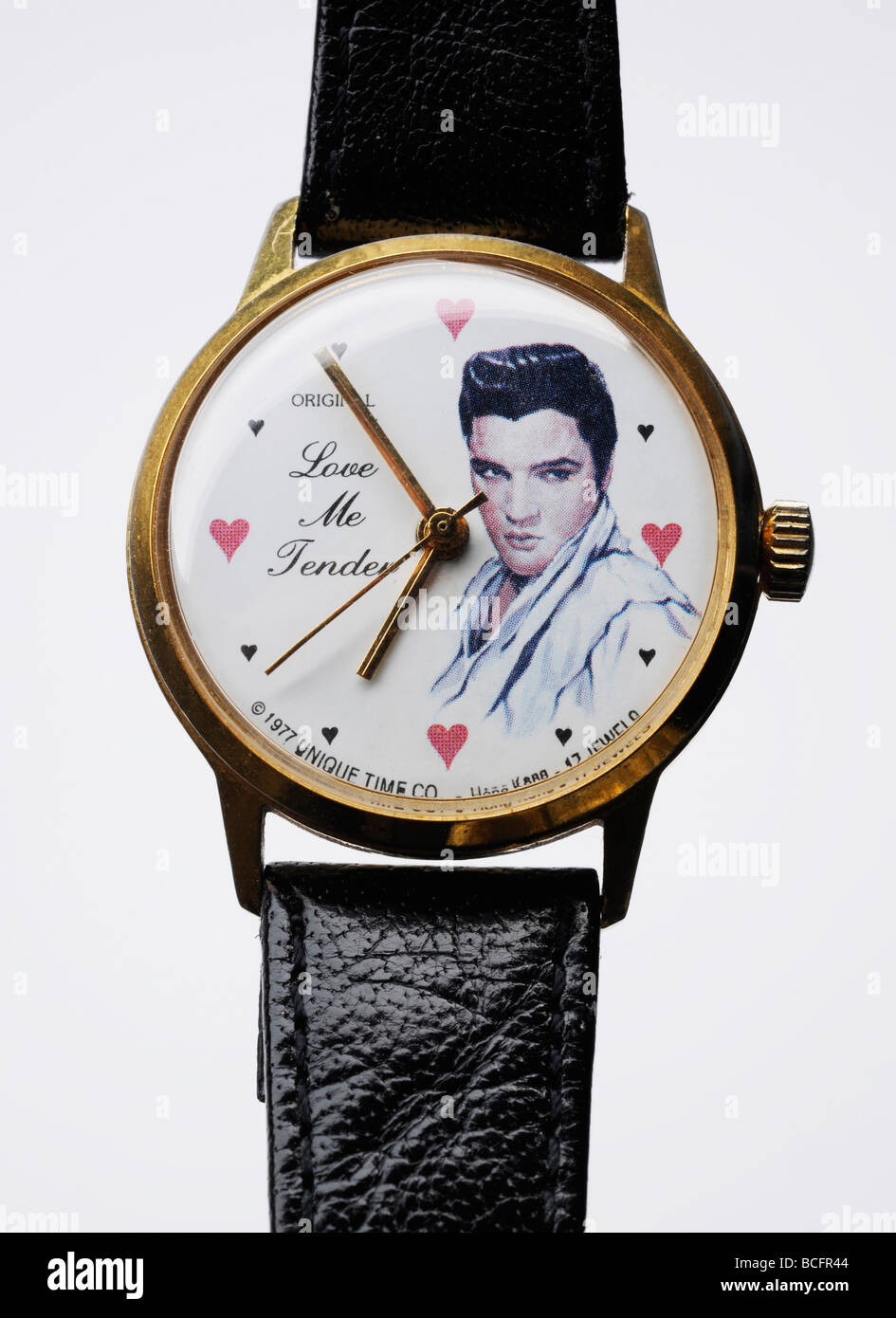 Elvis Presley watch with portrait, hearts and 'Love Me Tender' wording. - Stock Image