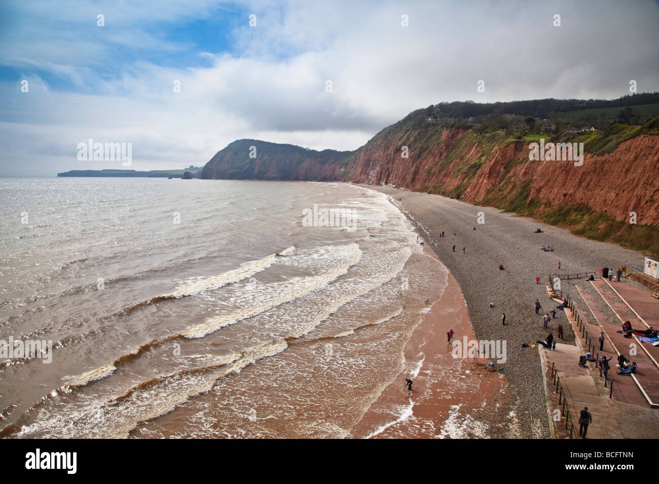 Jacob's Ladder beach in Sidmouth, Devon (UK) shot in spring sunshine on 16th April 2009 - Stock Image