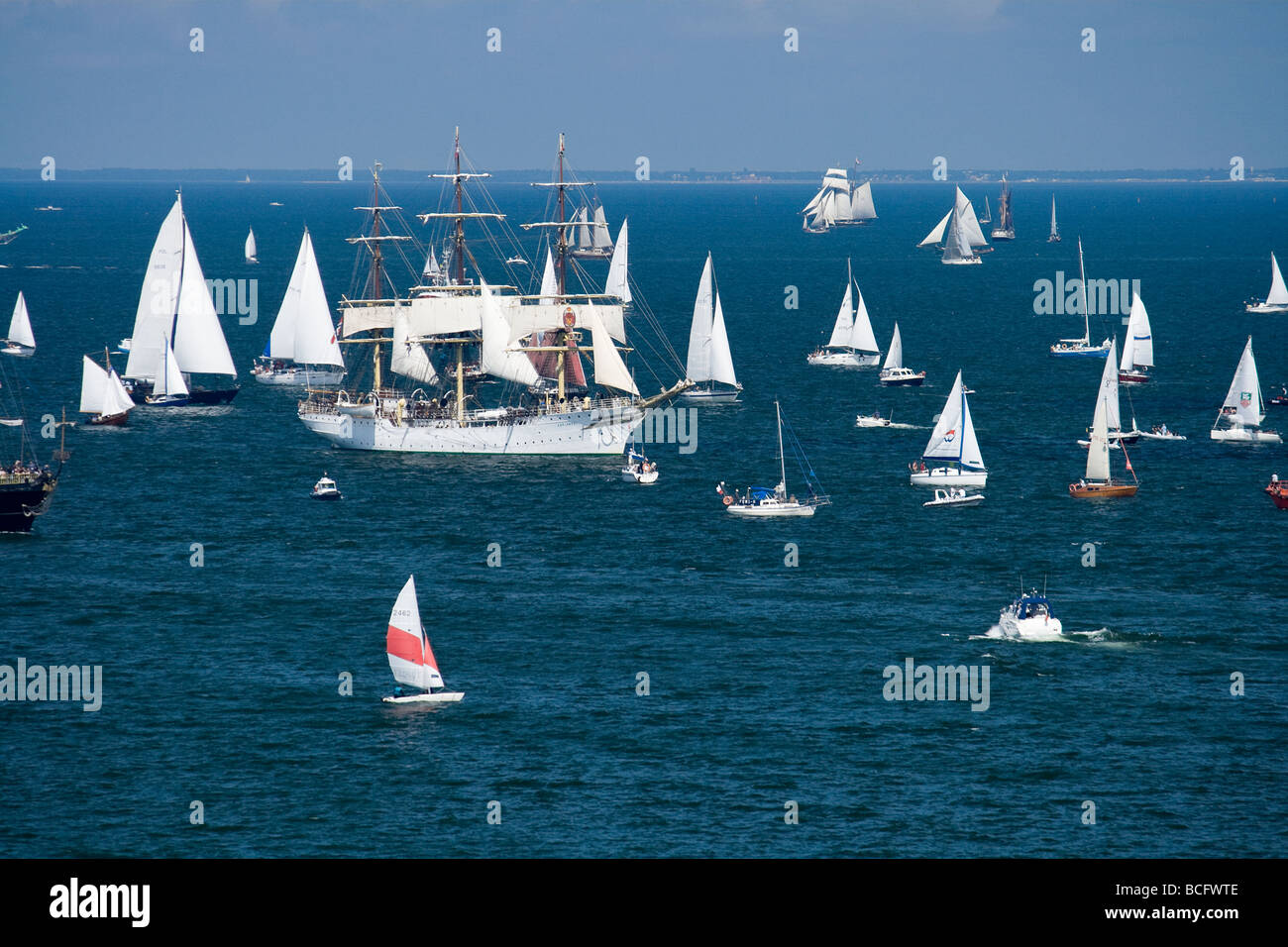 Norwegian 'Class A' type ship Sorlandet during the beginning of Tall Ships Races 2009 in Gdynia, Poland. - Stock Image
