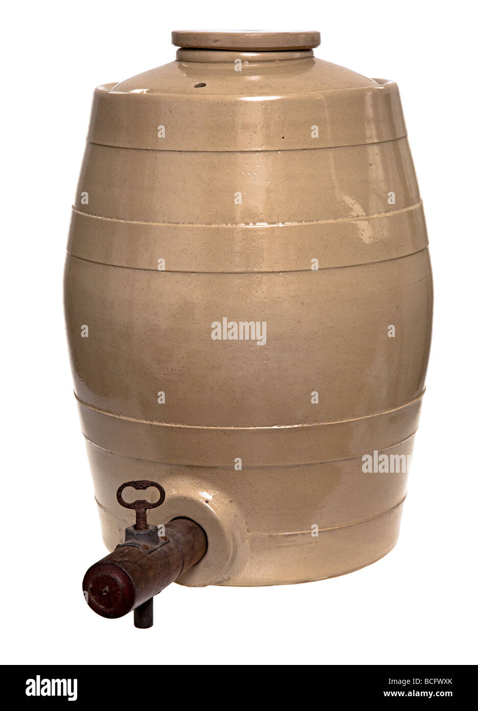 Antique c1900 ceramic barrel for beer or wine with wooden tap UK - Stock Image