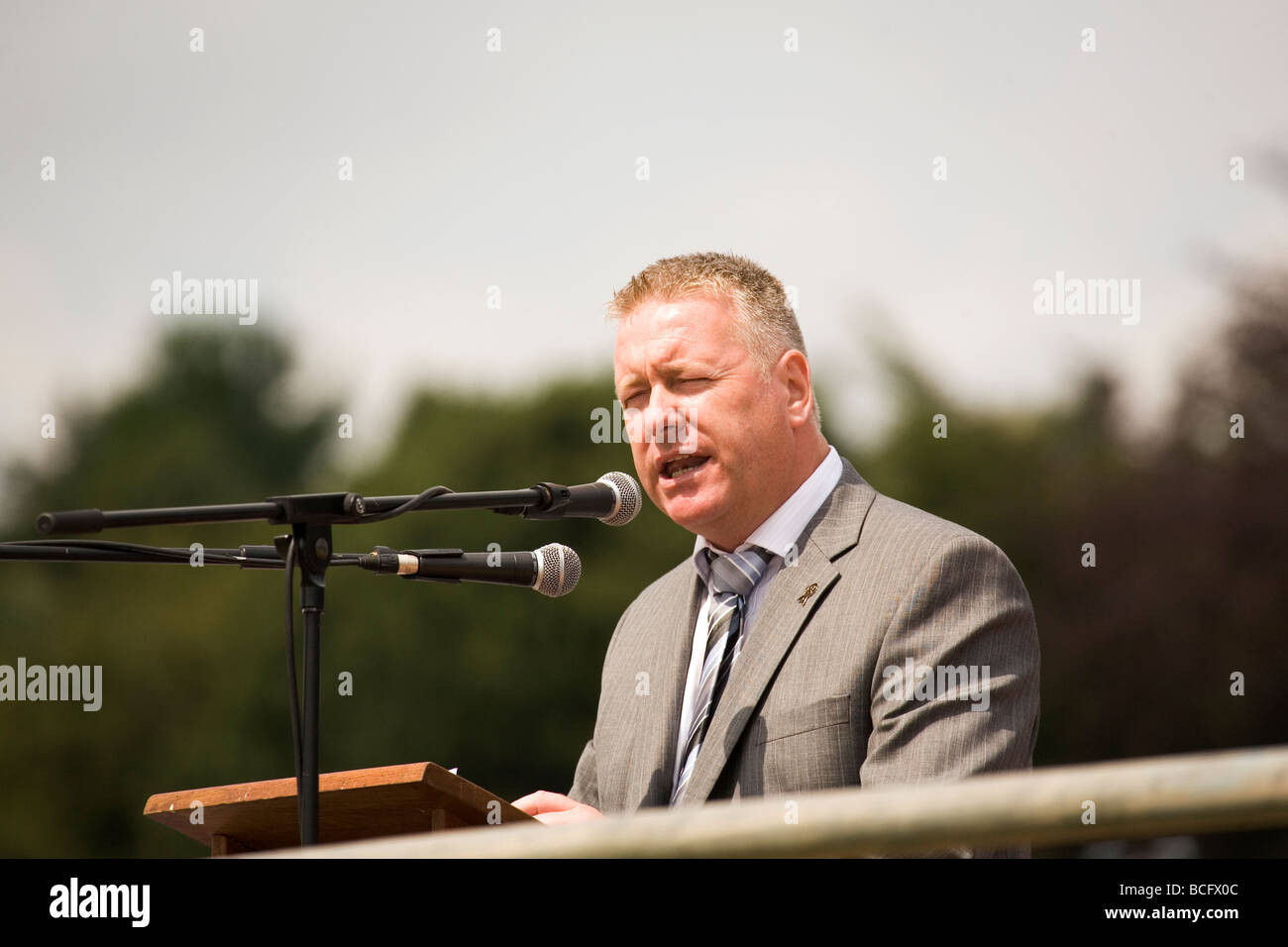 Ian Lavery the Chairman of the National Union of Mineworkers (NUM) speaks at the 2009 Durham Miners Gala. - Stock Image