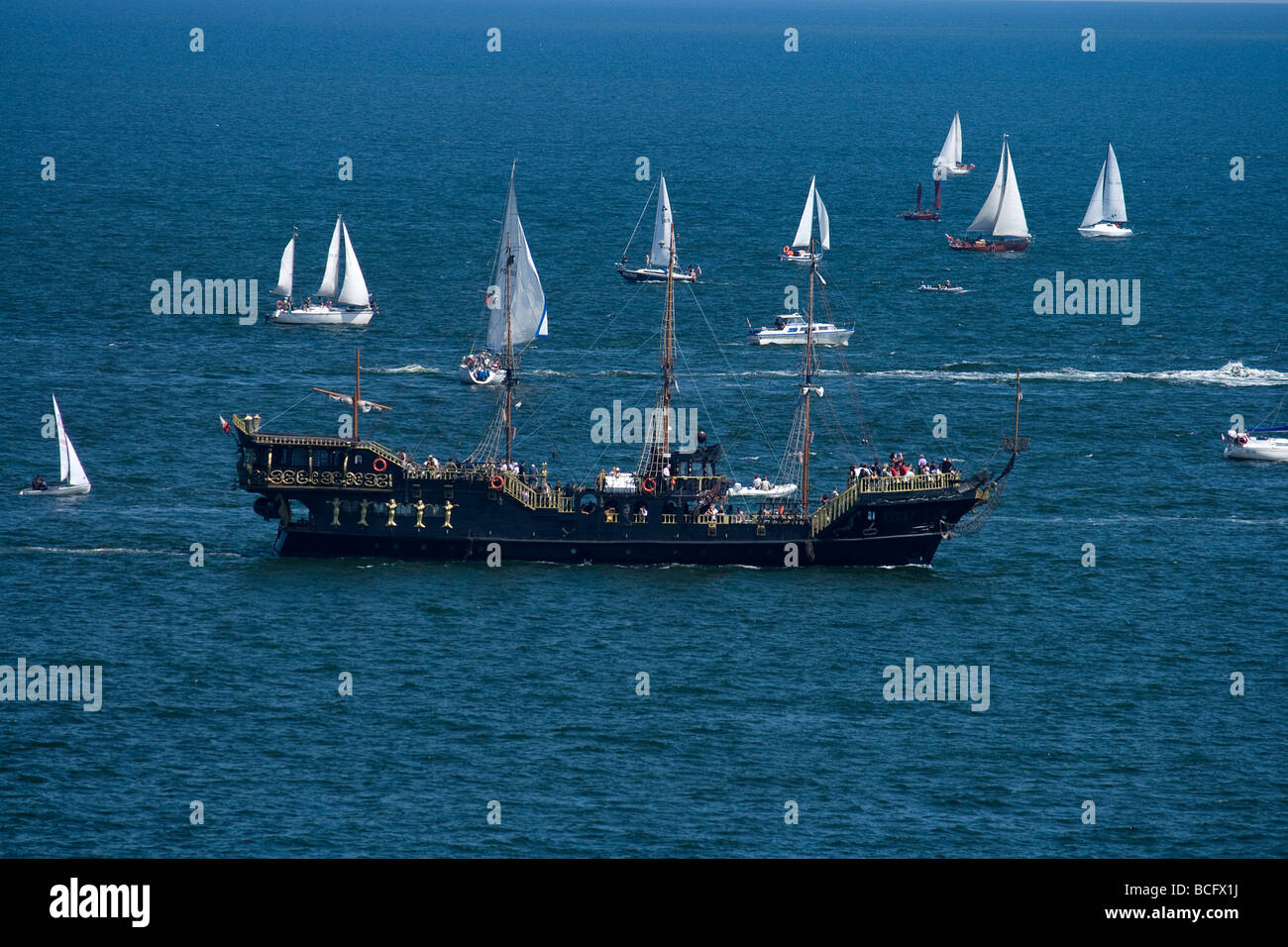 Photograph from the beginning of Tall Ships Races 2009 in Gdynia, Poland. - Stock Image
