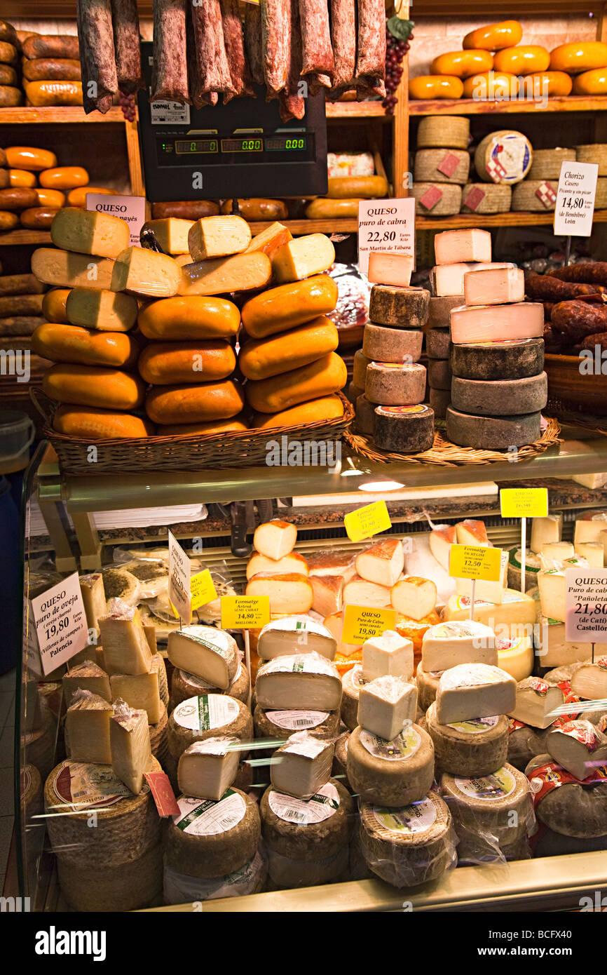 Cheese on sale in market Mercat de l'Olivar Palma Mallorca Spain - Stock Image